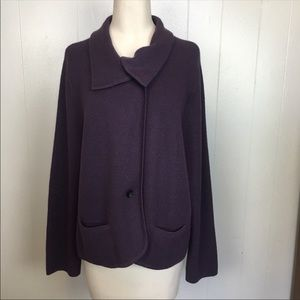 J Jill Wool Angora Blend Purple Sweater EUC